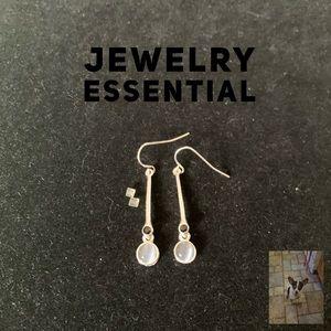 Moon glow silver tone dangle earrings